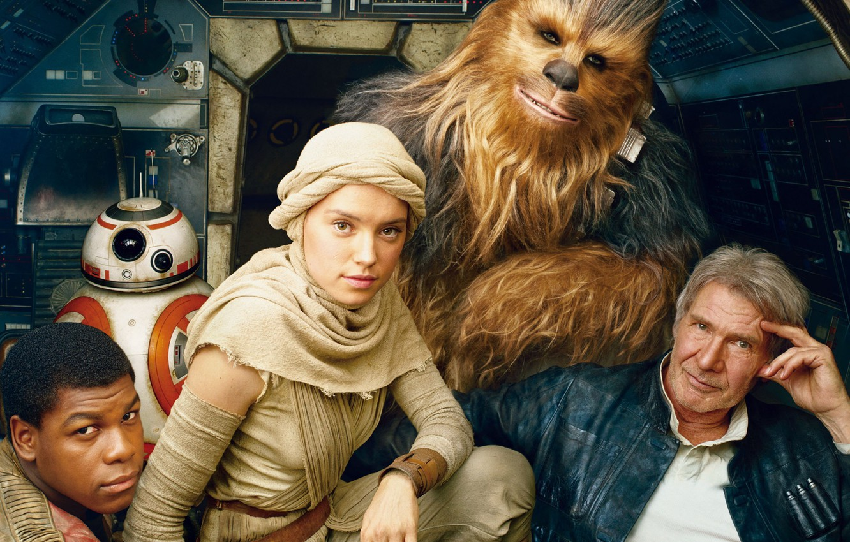 Photo wallpaper cinema, Star Wars, movie, stormtrooper, film, human, clone, Harrison Ford, Han Solo, Millennium Falcon, Finn, …