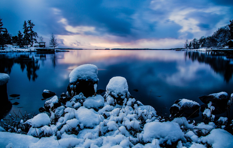 Photo wallpaper winter, the sky, water, snow, nature, stones, the evening, Stockholm, Sweden, Sweden, Stockholm
