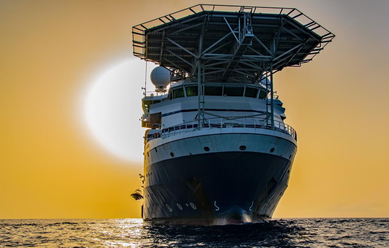 Photo wallpaper sea, the sun, dawn, ship