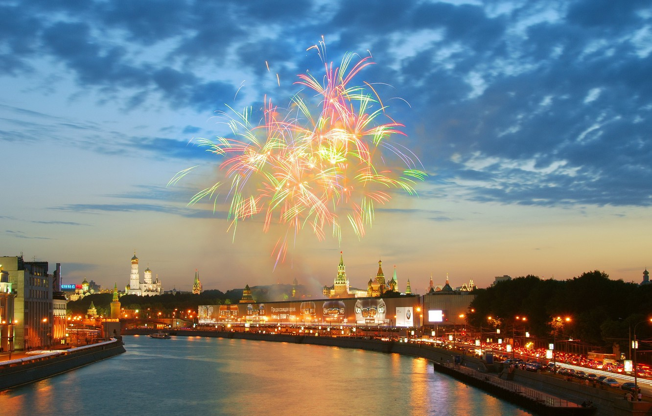Photo wallpaper river, salute, Moscow, the Kremlin
