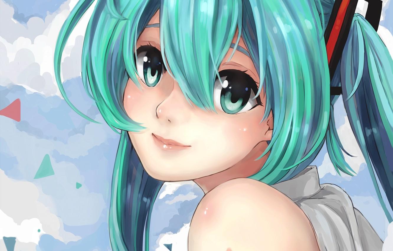 Photo wallpaper girl, clouds, face, smile, hair, art, vocaloid, hatsune miku, suppakarn prakobkij