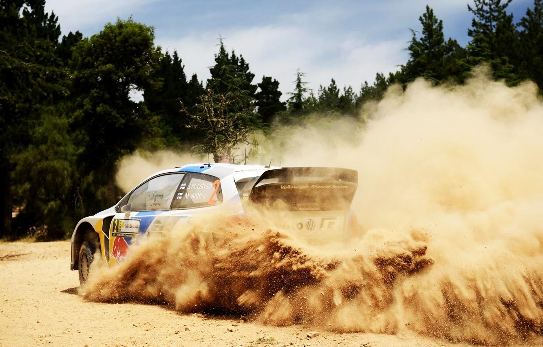 Photo wallpaper Auto, Dust, White, Forest, Volkswagen, Speed, Skid, Day, WRC, Rally, Polo, Jari-Matti Latvala, Ancestor