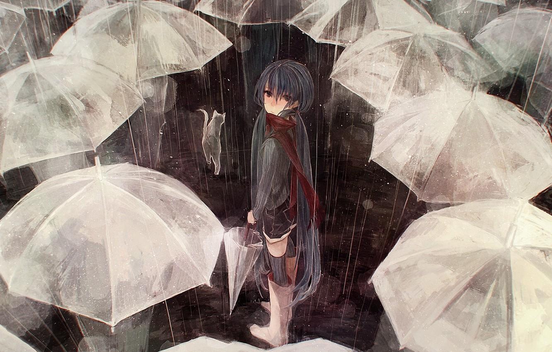 Photo wallpaper cat, cat, people, rain, the crowd, umbrella, art, umbrellas, vocaloid, hatsune miku