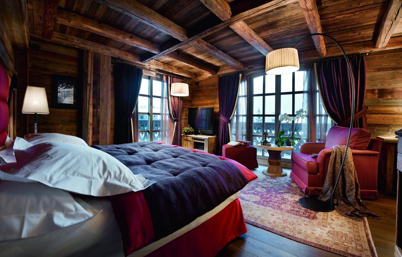 Photo wallpaper house, furniture, interior, TV, bedroom