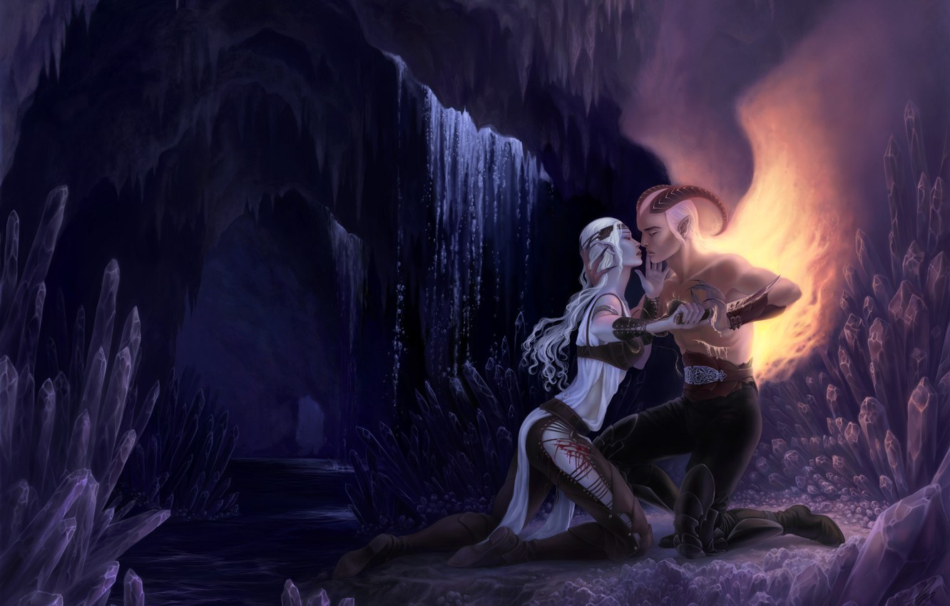 Photo wallpaper girl, love, wings, the demon, cave, guy, crystals, long hair, a couple in love, gray …