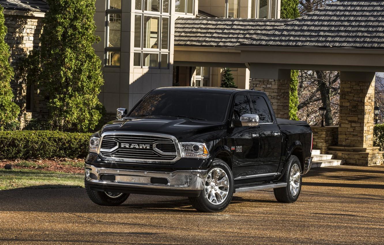 Photo wallpaper Dodge, Black, 4x4, PickUp, RAM 1500, Laramie Limited Crew Cab