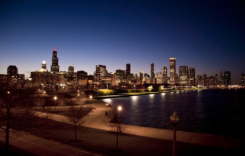 Photo wallpaper night, city, Park, skyscrapers, USA, Chicago, Illinois