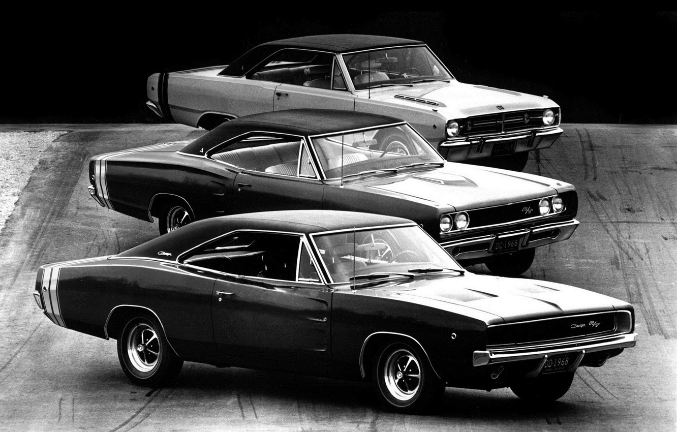 Photo wallpaper dodge, mixed, black and white