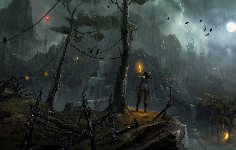 Photo wallpaper birds, rain, the moon, lightning, torch, TOMB RAIDER, girl., Lara Croft
