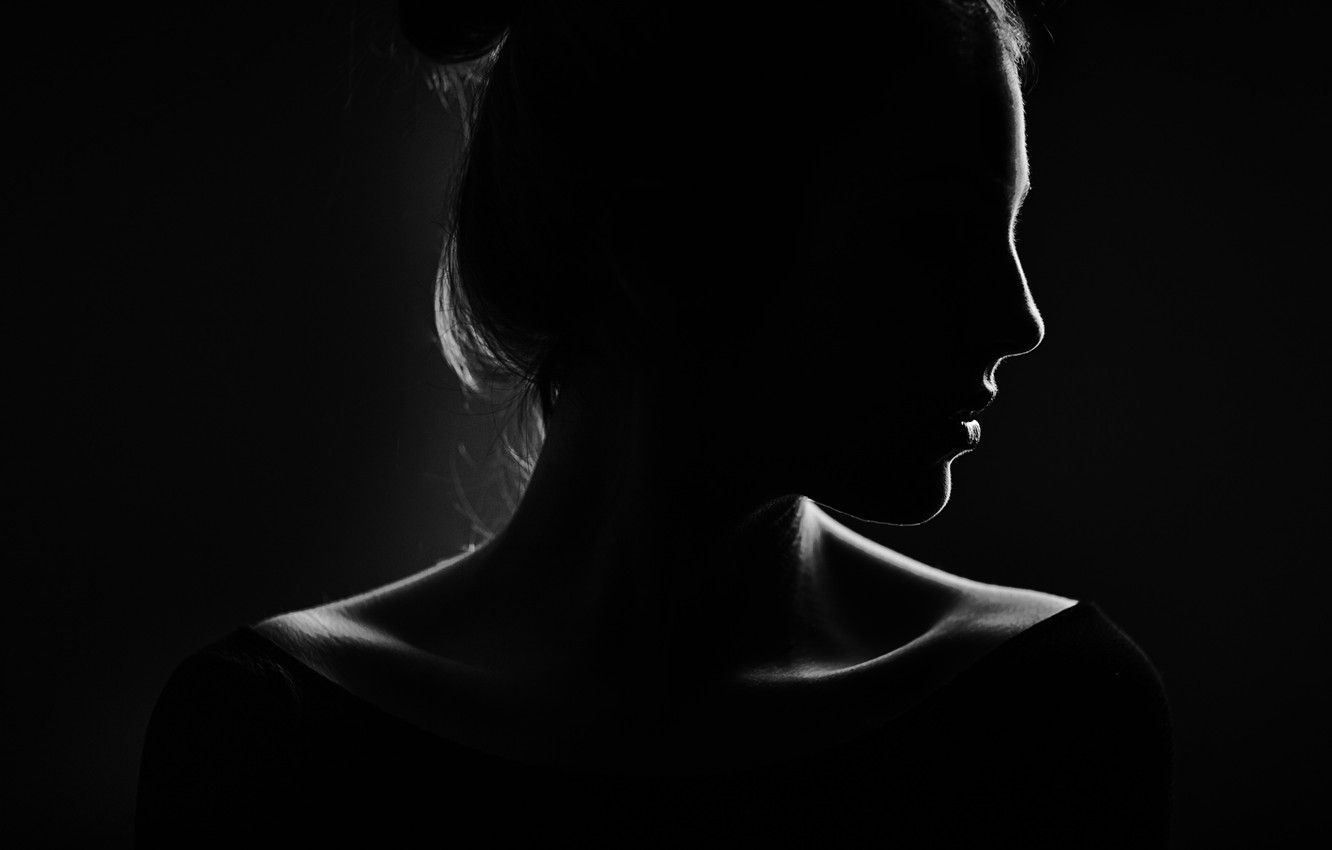 Photo wallpaper girl, silhouette, profile, black background