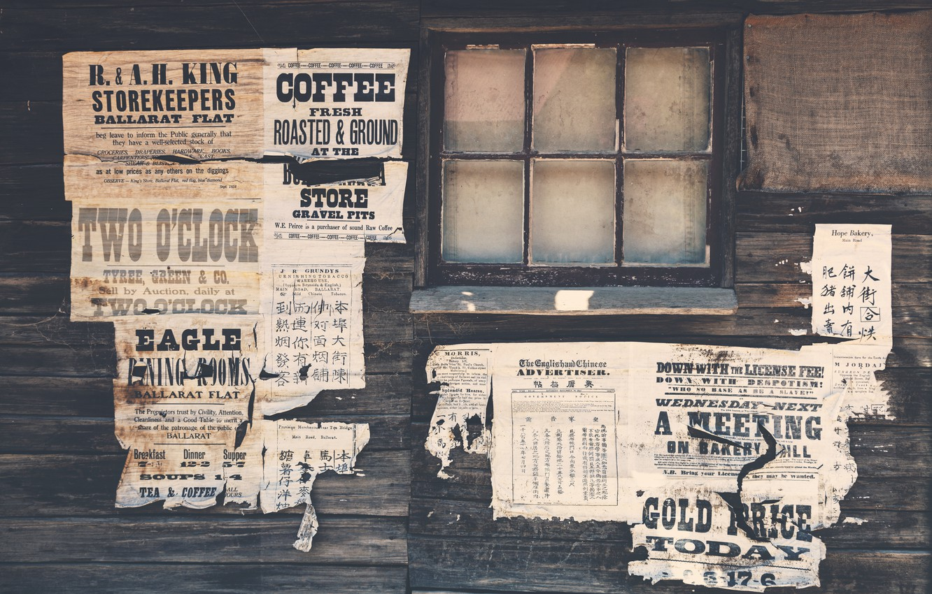 Photo wallpaper wall, wood, paper, advertisements, Wild West