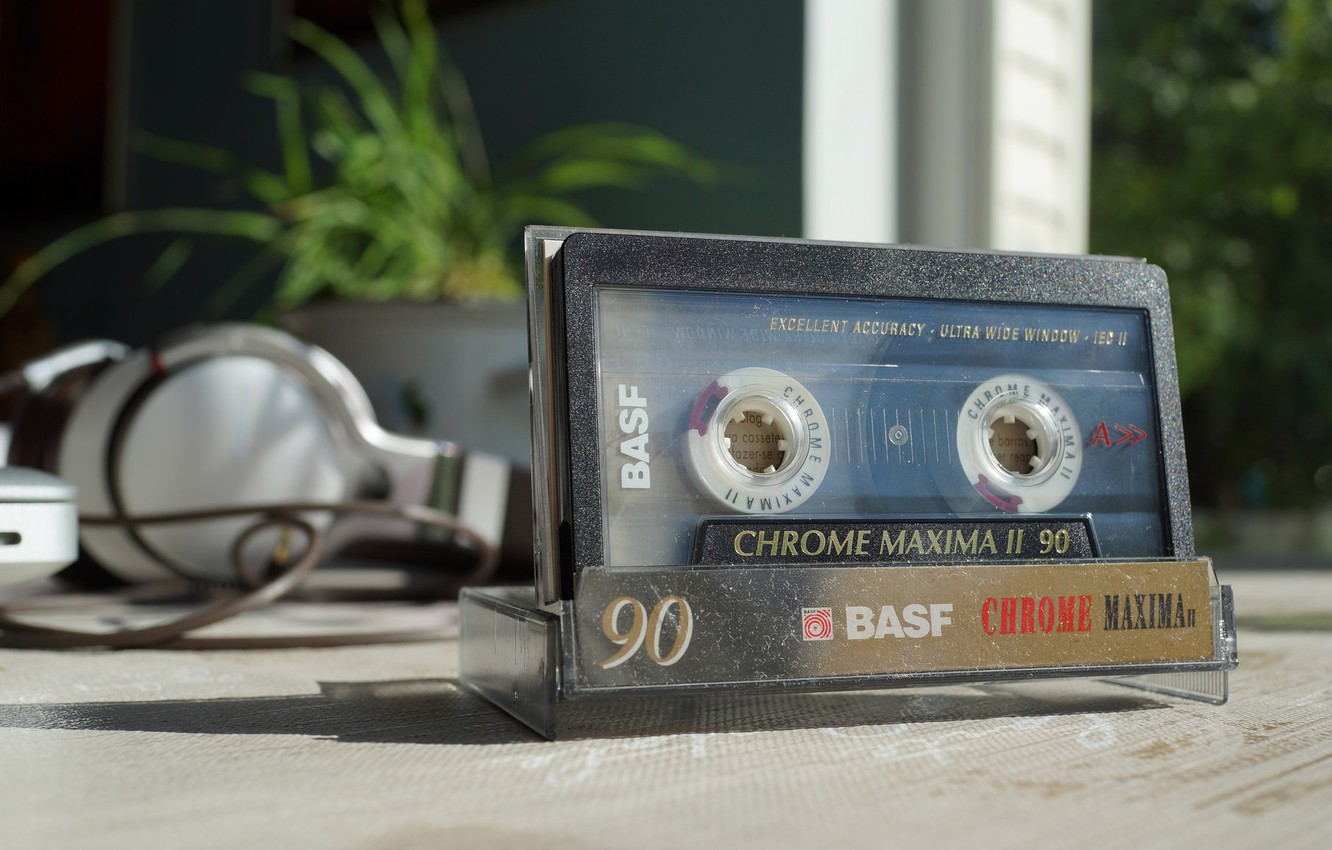 Photo wallpaper macro, music, cassette, BASF