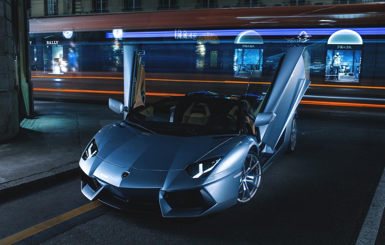 Photo wallpaper Roadster, Lamborghini, City, LP700-4, Aventador, Supercars, Road, Silver, Door, Ligth, Nigth