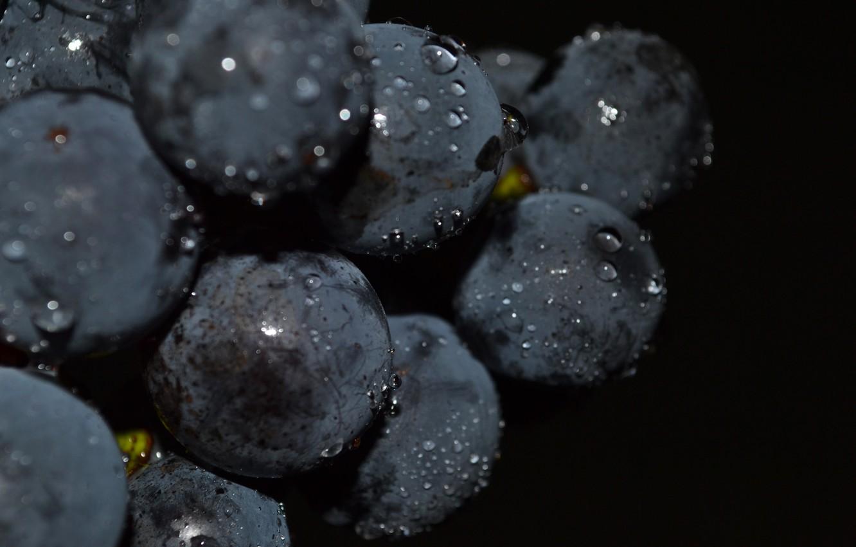 Photo wallpaper drops, macro, grapes, black background