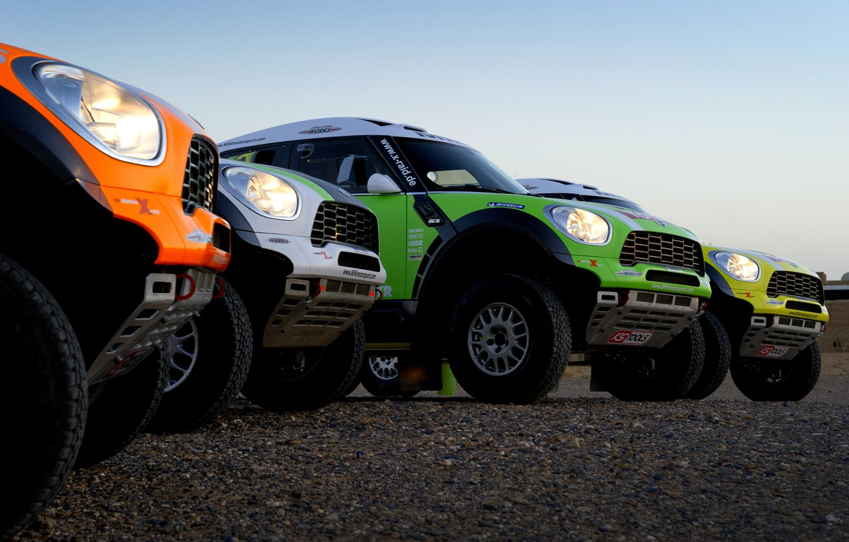 Photo wallpaper Auto, Yellow, White, Green, Orange, Lights, Mini Cooper, Rally, Dakar, Dakar, SUV, Rally, Four, MINI, …