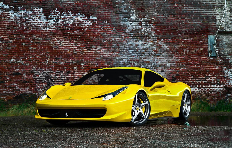 Photo wallpaper Ferrari, Yellow, Italy, Ferrari, gold, 458, italia