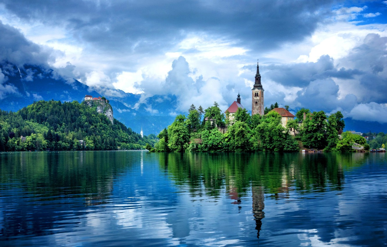 Photo wallpaper the sky, clouds, reflection, trees, mountains, building, Lake