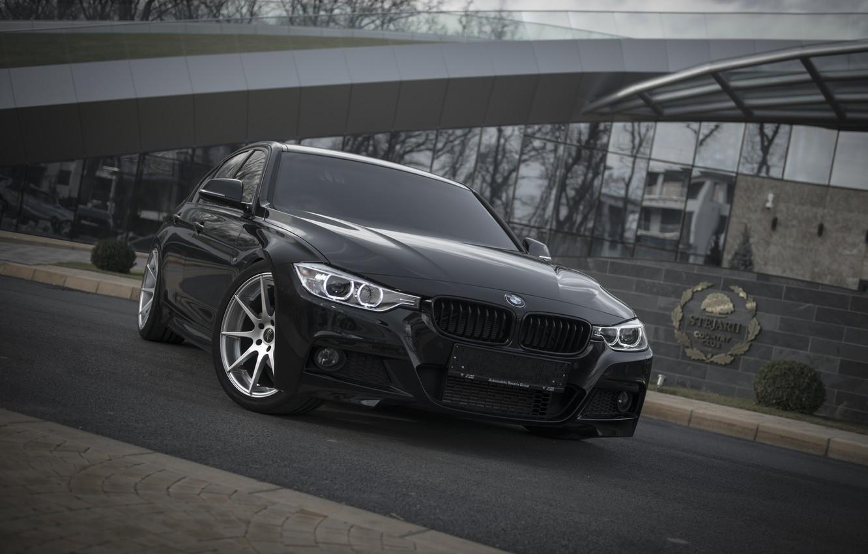 Photo wallpaper BMW, Black, BMW, Lights, Tuning, F30, Front