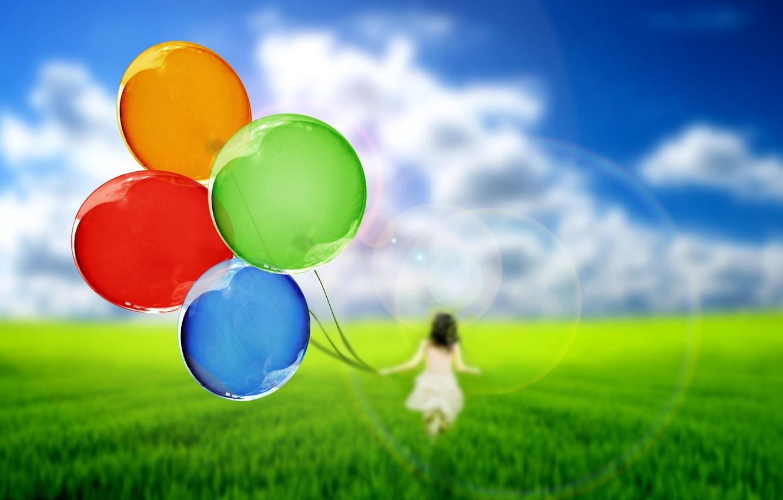 Photo wallpaper greens, the sky, grass, girl, balls, nature, balloons, background, Wallpaper, mood, silhouette, wallpaper, widescreen, background, …