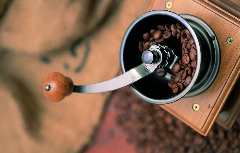 Photo wallpaper coffee, grain, coffee grinder