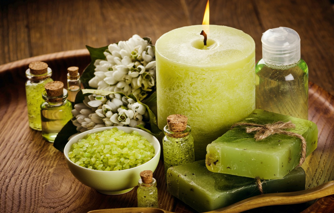 Photo wallpaper flowers, oil, candles, soap, relax, flowers, Spa, still life, candles, salt, spa, salt, wellness