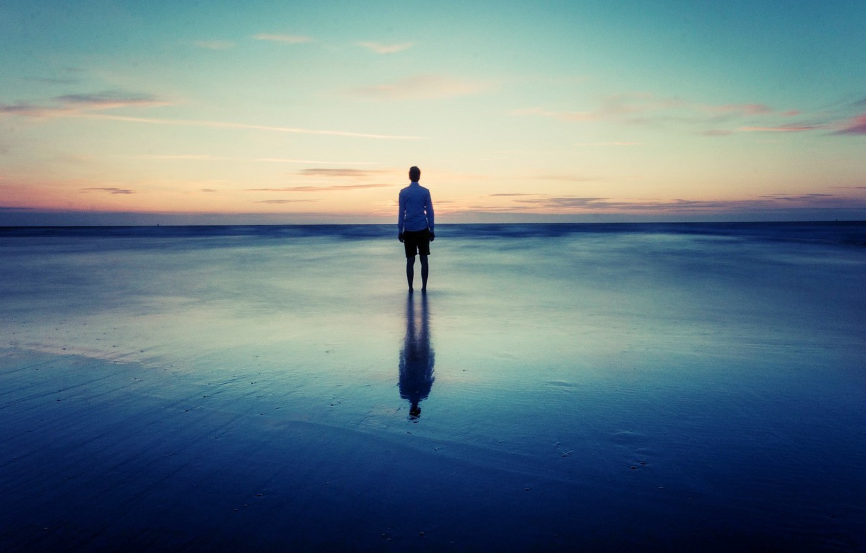 Photo wallpaper sky, sea, alone, horizon