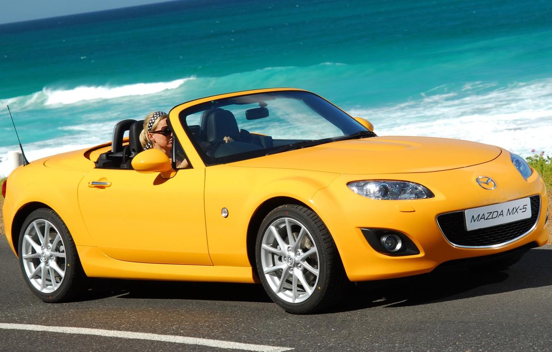 Photo wallpaper yellow, Roadster, Mazda, Mazda, the front, Roadster, MX-5