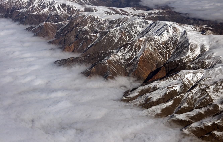 Photo wallpaper clouds, landscape, mountains