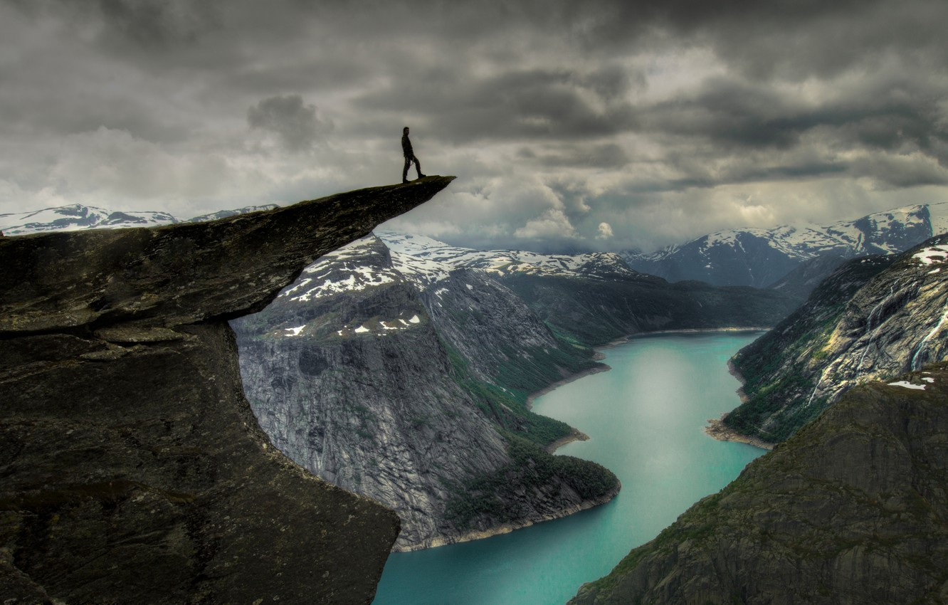 Photo wallpaper language, snow, mountains, rock, river, people, rock, river, Norway, mountains, troll, tongue, norway, cliff, Troll