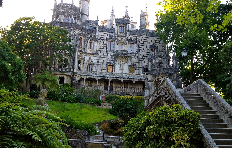 Photo wallpaper grass, trees, garden, ladder, Portugal, architecture, the bushes, Palace, Sintra, Quinta da Regaleira