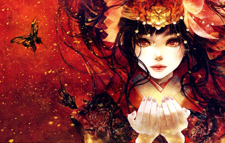 Photo wallpaper look, girl, butterfly, face, anime, hands, art, kimono
