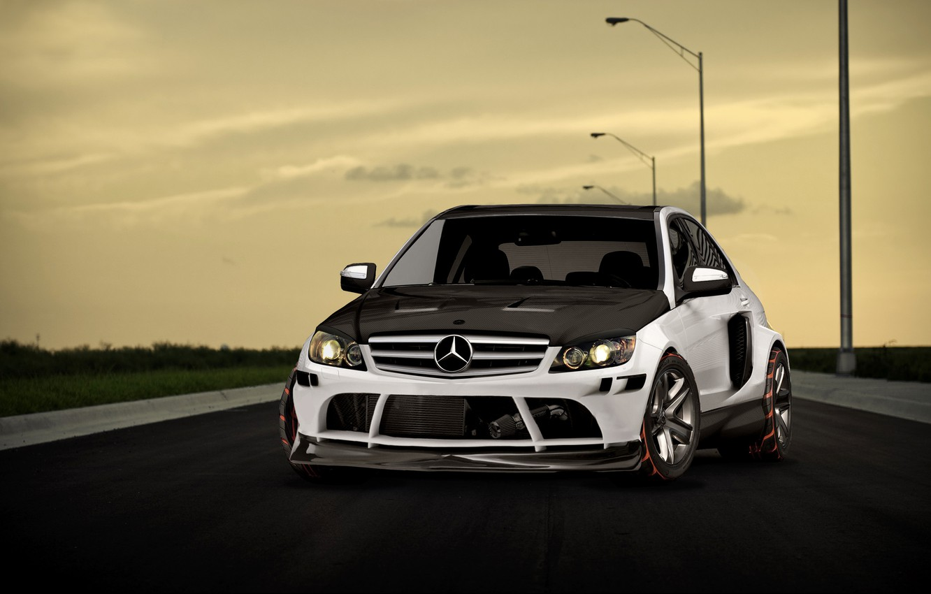 Photo wallpaper road, class, Mercedes.black and white