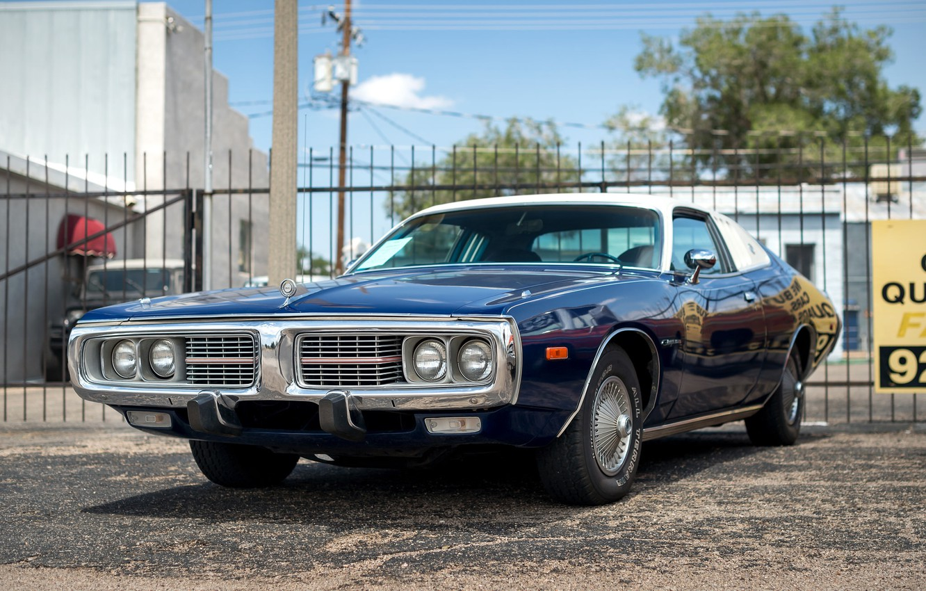 Photo wallpaper retro, Dodge, muscle car, classic, the front, 1973, Charger SE