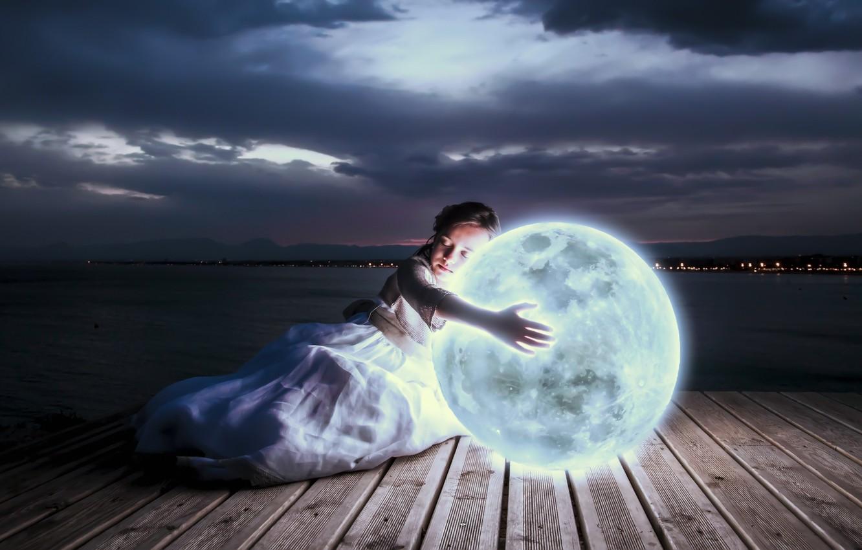 Photo wallpaper light, night, lights, the moon, sleep, art, girl, lunar