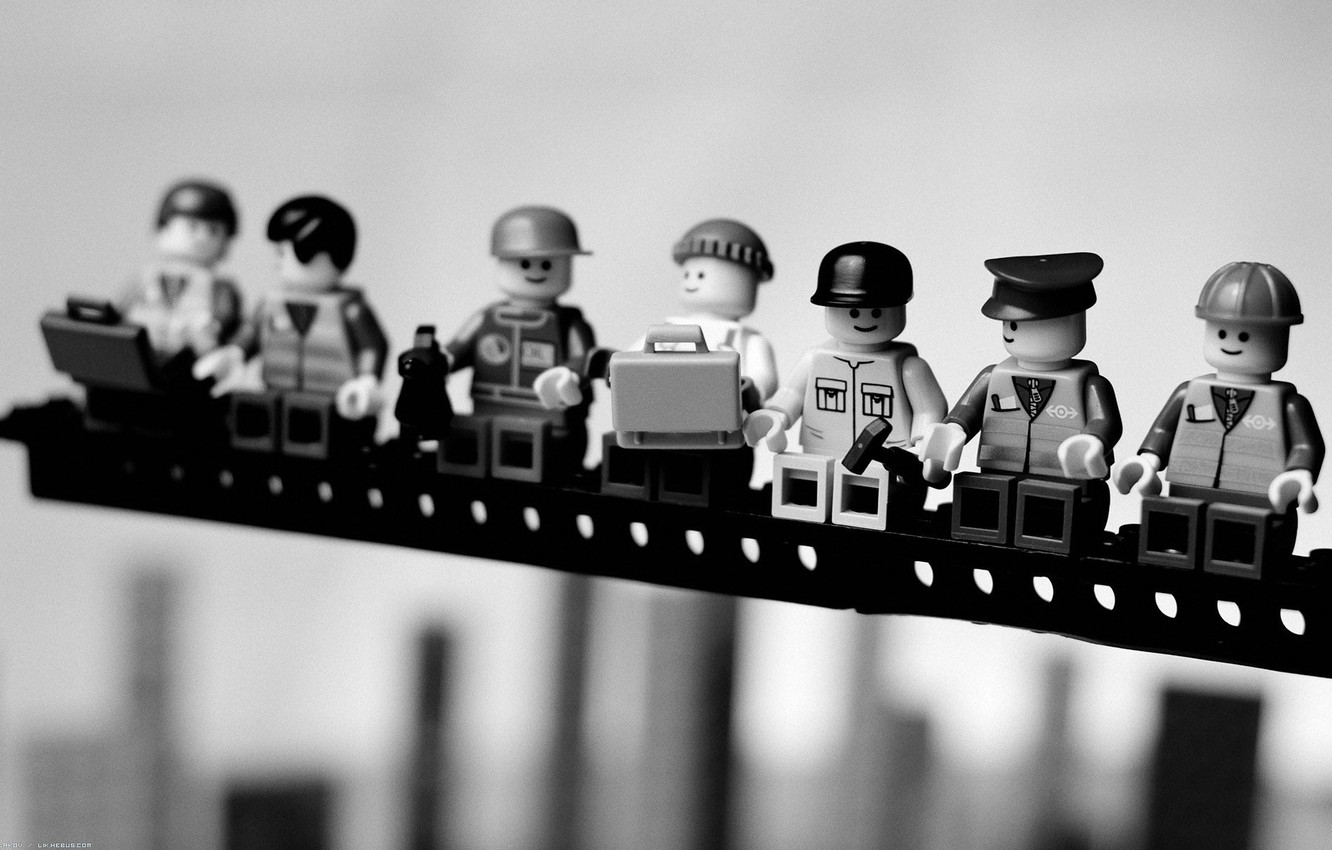 Photo wallpaper macro, photo, background, Wallpaper, toys, black and white, picture, figures, LEGO
