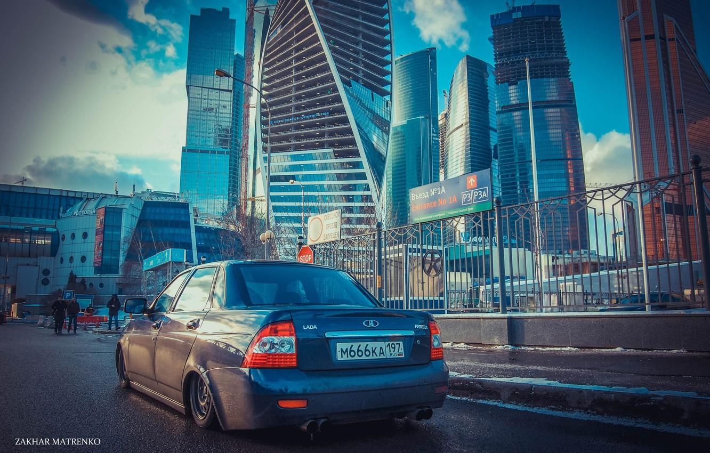 Photo wallpaper machine, auto, home, Moscow, auto, LADA, Priora, VAZ, BPAN, Prior