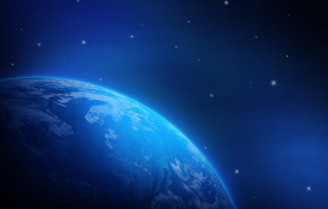 Photo wallpaper space, planet, stars, Earth