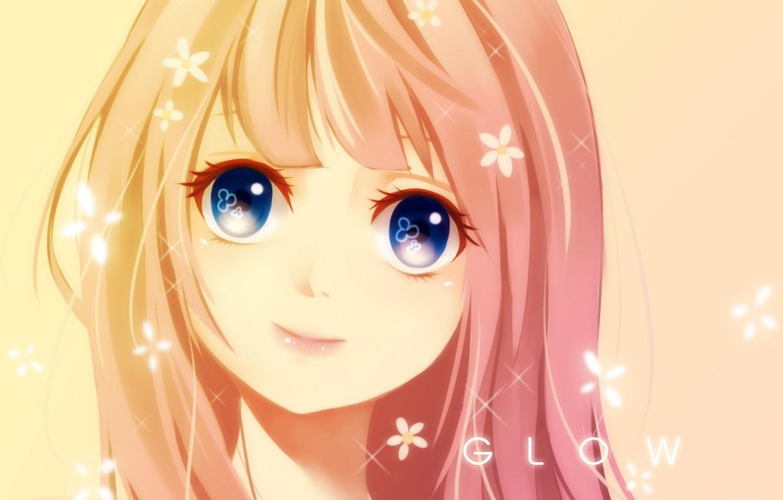 Photo wallpaper girl, flowers, smile, anime, art, seishiki
