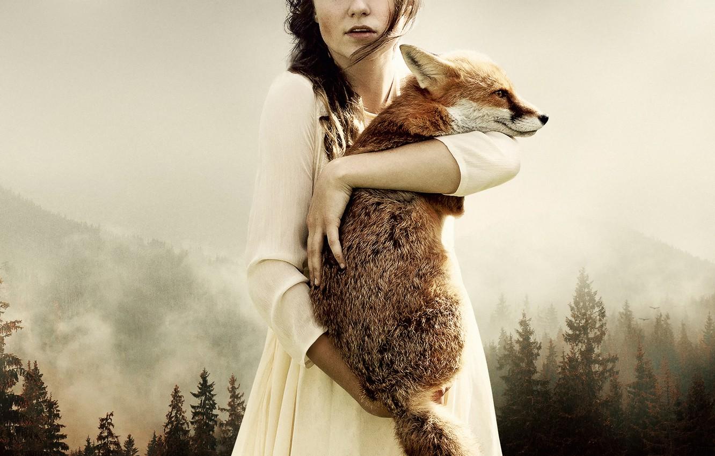 Photo wallpaper forest, girl, art, Fox