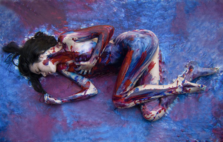 Photo wallpaper colors, girl, art, canvas