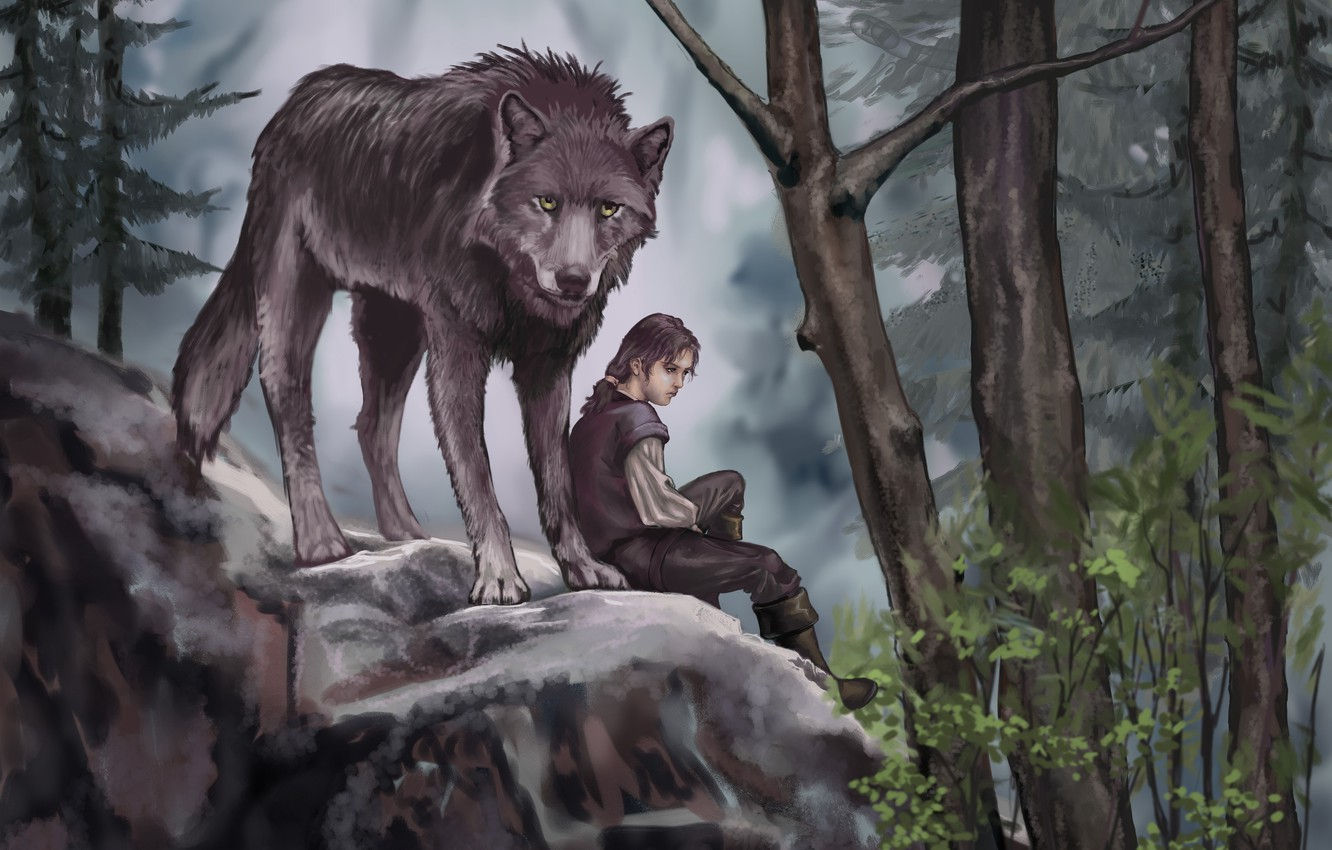 Photo wallpaper forest, leaves, trees, animal, wolf, predator, art, painting, Game of Thrones, Arya Stark, Nymeria