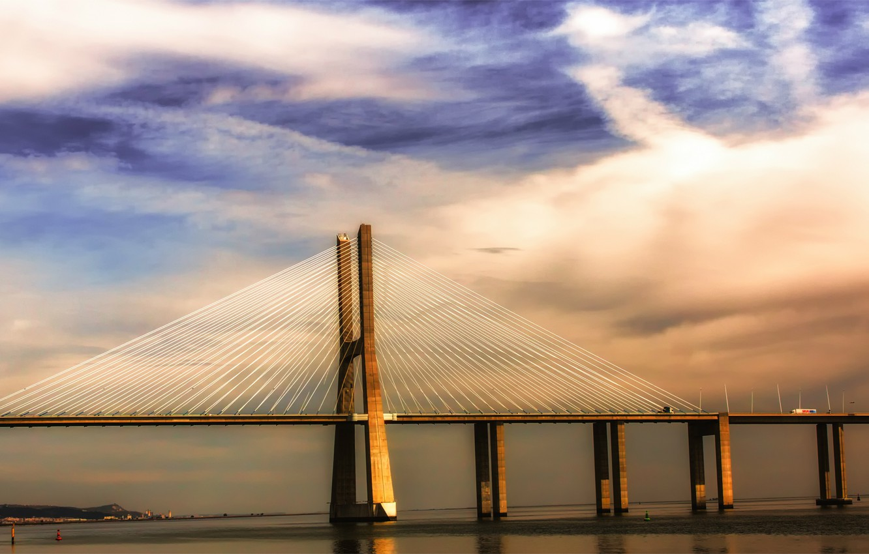 Photo wallpaper the sky, clouds, clouds, bridge, river, Portugal, blue, Lisbon, Portugal, Tagus, Lisbon