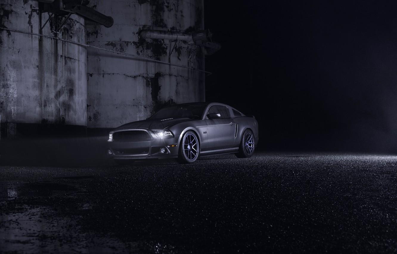 Photo wallpaper Mustang, Ford, Dark, Muscle, Car, Front, Grey, Wheels, Velgen, Ligth, Nigth