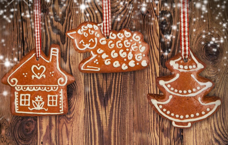 Photo wallpaper holiday, Christmas, man, sweets, New year, Christmas, cookie, figure, New Year, Christmas, sweets, cookies
