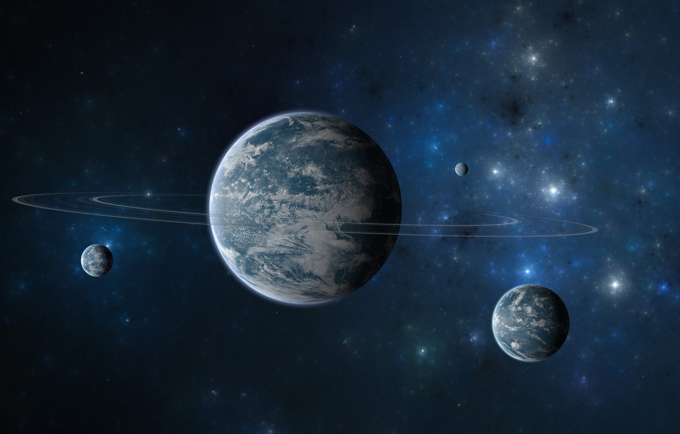 Photo wallpaper space, cosmos, planets