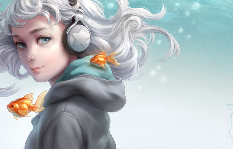 Photo wallpaper girl, fish, headphones, Aqua, art, Kotikomori