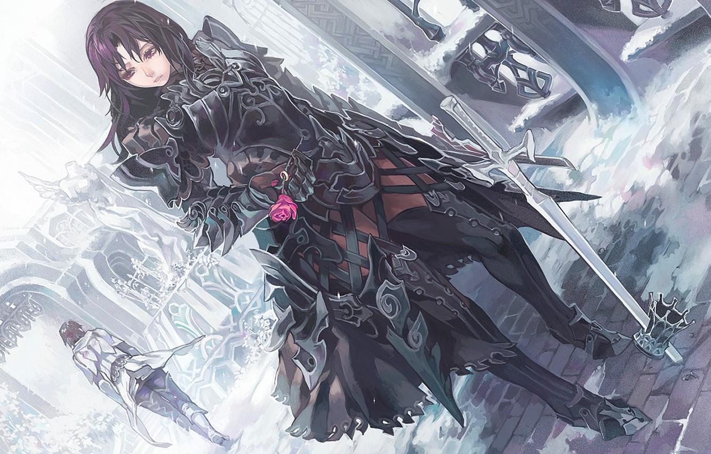 Photo wallpaper rose, Girl, sword, armor, crown