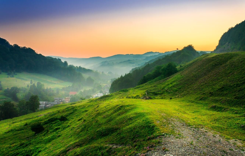 Photo wallpaper trees, mountains, nature, home, clearing, trees, nature, mountains, clearing houses