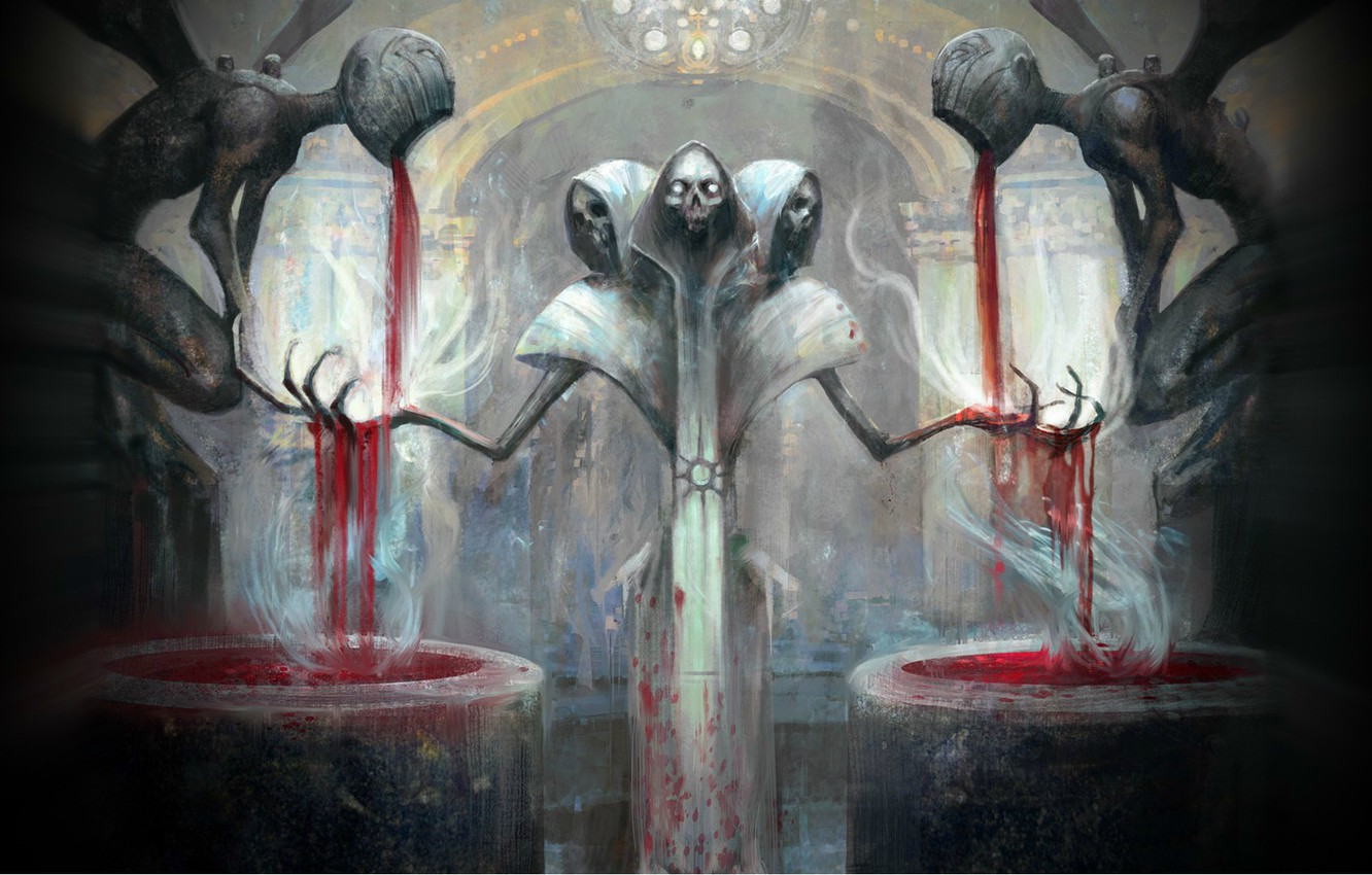 Photo wallpaper death, blood, skeleton, skull, the altar, sacrifice, Magic the Gathering
