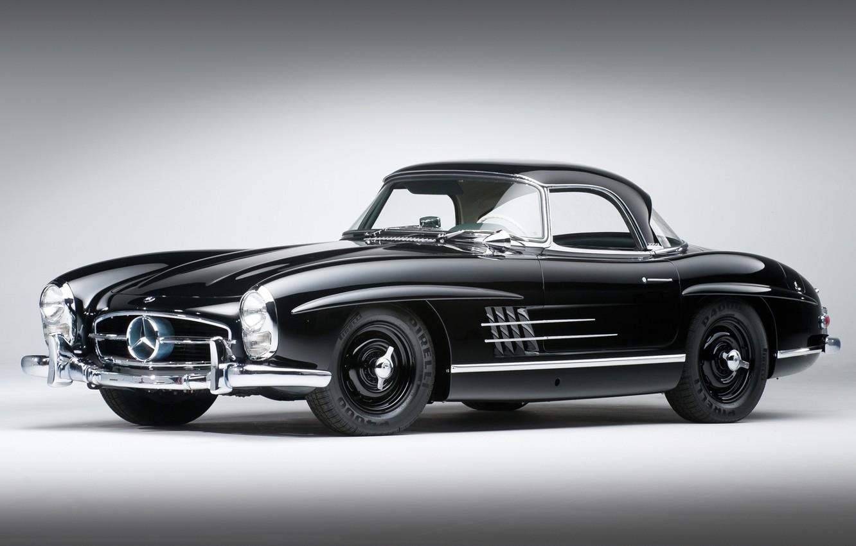 Photo wallpaper black, Mercedes-Benz, classic, Mercedes, the front, 1957, beautiful car, 300сл, 300SL